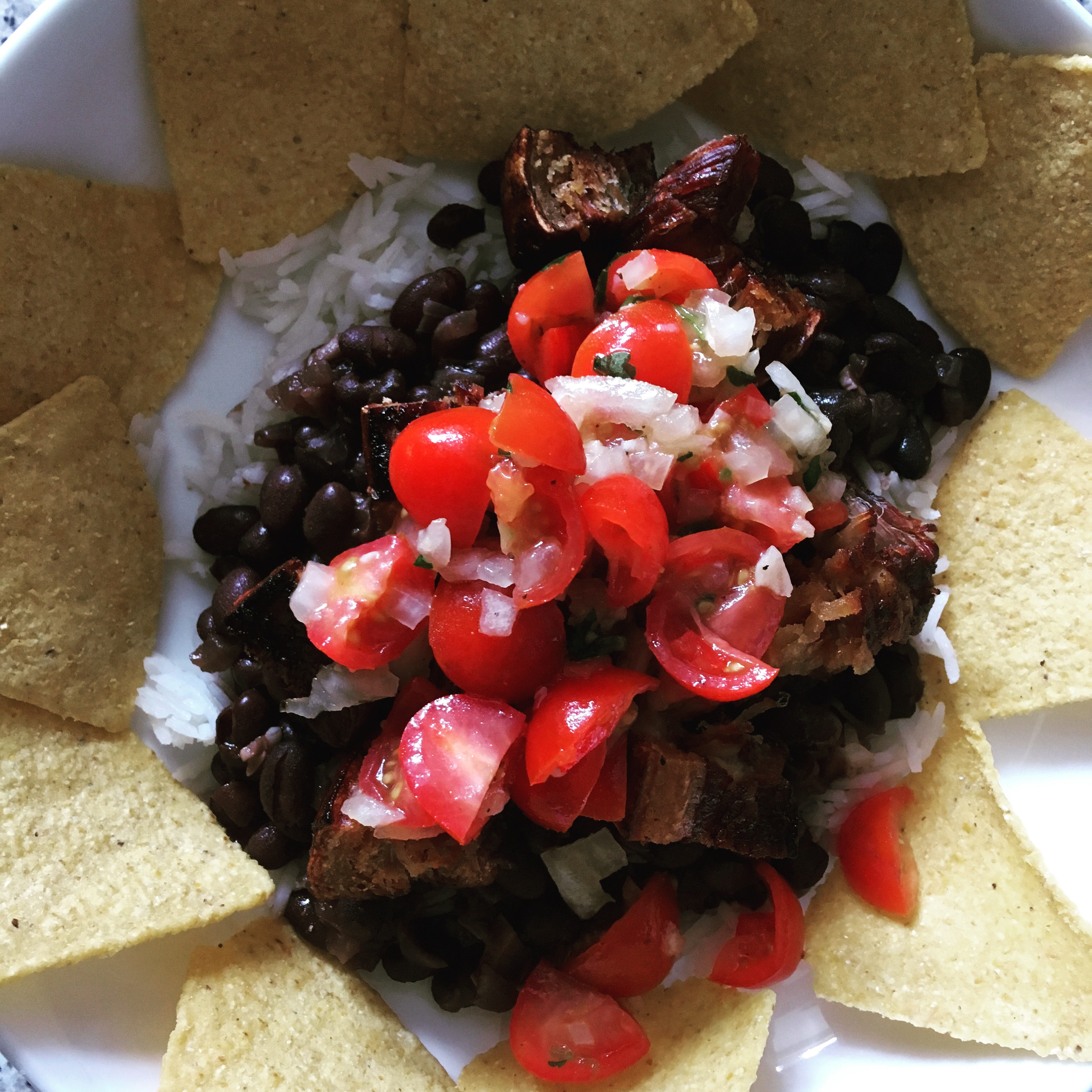 Pico de gallo and black beans