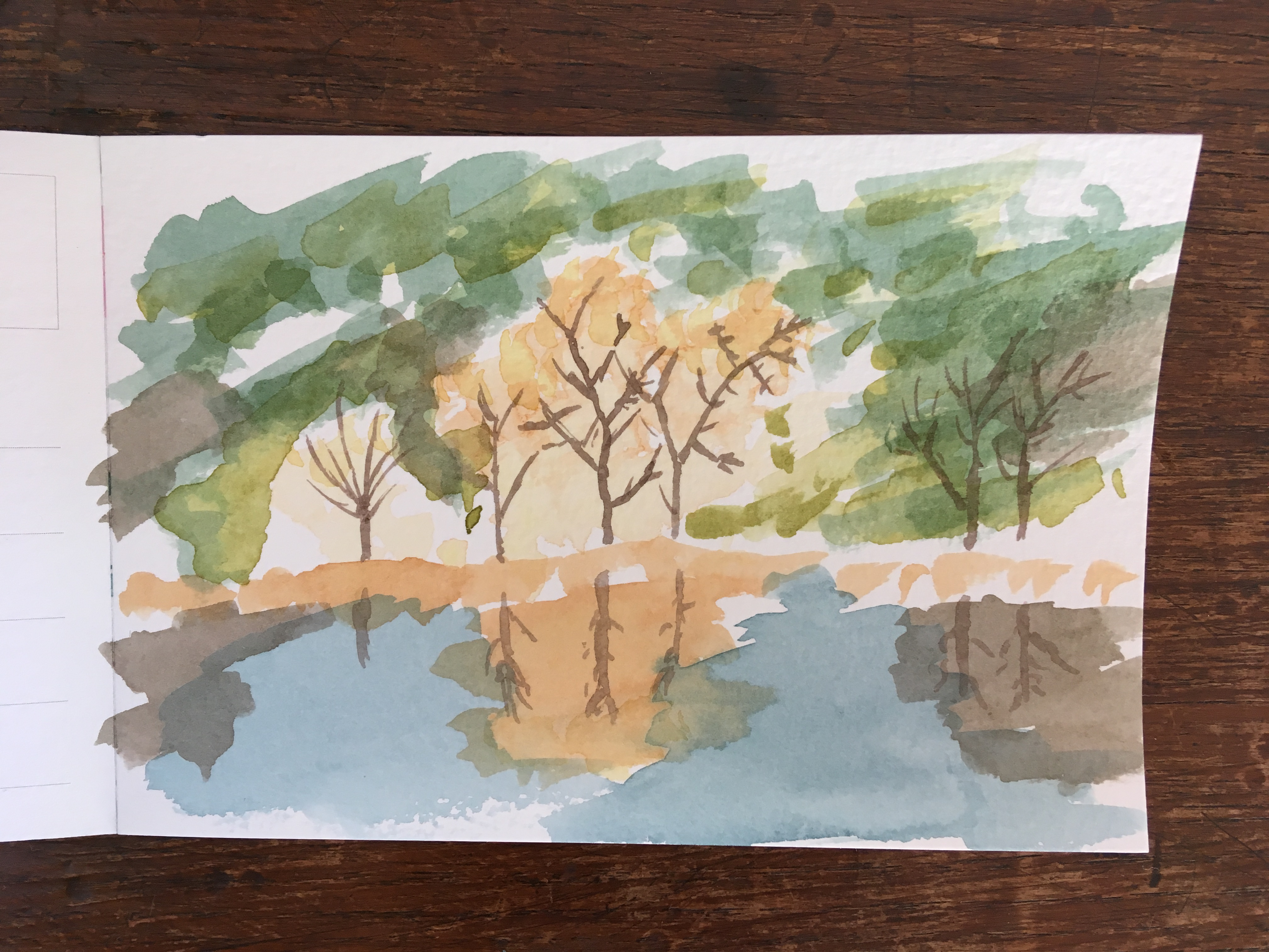 A watercolour paiting of a autumn lake